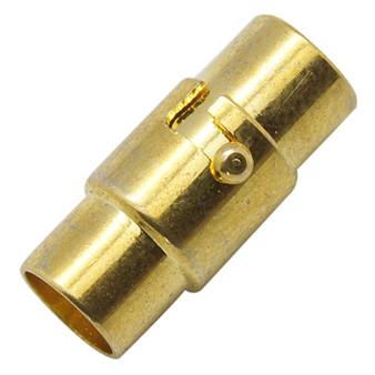 4 x Locking Magnetic Clasps - Gold 5mm*15mm with glue in ends 4mm ID
