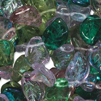 """1 x 8"""" Strand of Czech Glass Leaves 12mmx7mm Mix Lavender Garden, top drilled (50 beads)"""