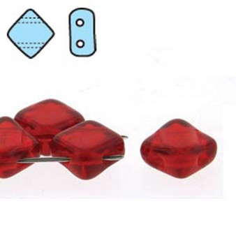 1 x Strand of 6mm Czech Two Hole Silky Beads SQ206-90090 Ruby