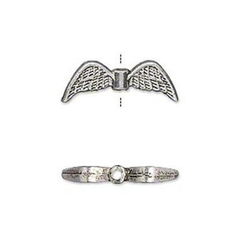 """10 x plated """"pewter"""" 21x7mm double-sided angel wings Ant Silver"""