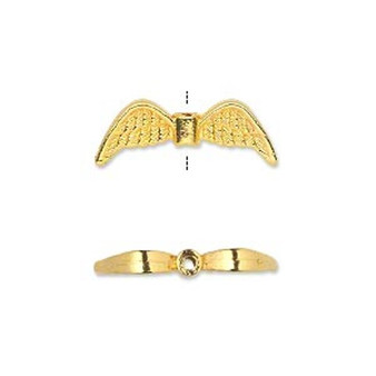 """10 x plated """"pewter"""" 21x7mm double-sided angel wings Gold"""