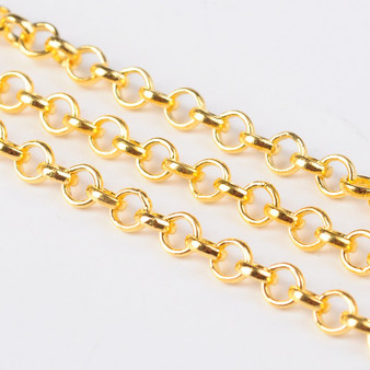 3 metres of Iron Rolo Chain (4mm in diameter) 1mm thick (Gold)