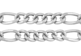 3 metres of Handmade Iron Mother & Son Chain (3x6mm & 3x3.5mm) 0.6mm thick (Platinum)