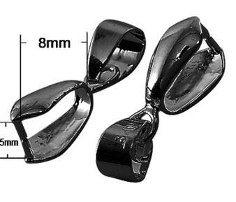10 pack of Black Pinch Bails: Bail 20*7mm, Pinch inner diameter 5*8mm