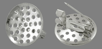 10 x Iron Pin Backs/Brooch, Platinum Color, about 16mm in diameter with shower head