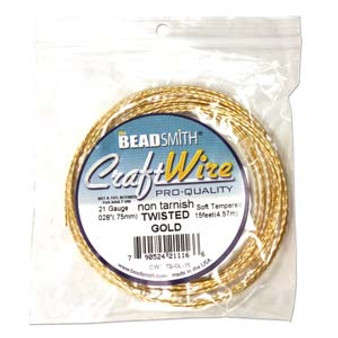 Beadsmith Craft Wire 21 guage Non Tarnish Twisted Square Wire Gold - 15ft