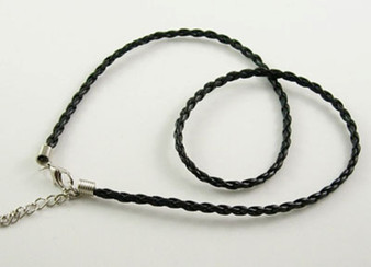 "10 x Imitation Leather cord Necklaces Black (3mm thick, 17"" long) Platinum ends"