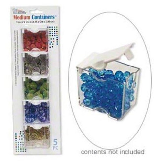 Organizer, Medium Containers™, Bead Storage Solutions™, plastic, clear and opaque off-white, 2 x 1-3/4 x 1-1/8 inches. Sold per 5-piece set.