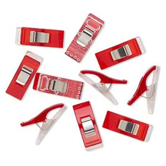 10pk - Wonder clip, Clover, stainless steel and plastic, red and clear, 26x10mm