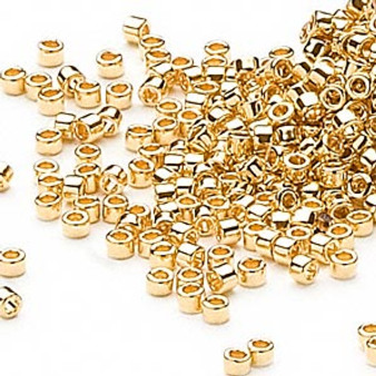 DB0031 - 11/0 - Miyuki Delica - 24kt Gold Played - 4gms - Cylinder Seed Beads