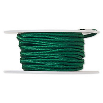 Cord, soutache, polyester, 3.5mm wide. Sold per 6-yard spool. Kelly Green