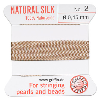 Griffin Thread, Silk 2-yard card with integrated flexible stainless steel needle Size 2 (0.45mm) Beige