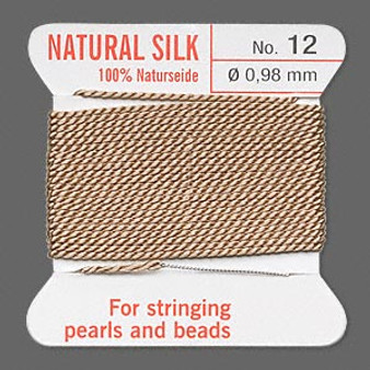 Griffin Thread, Silk 2-yard card with integrated flexible stainless steel needle Size 12 (0.98mm) Beige
