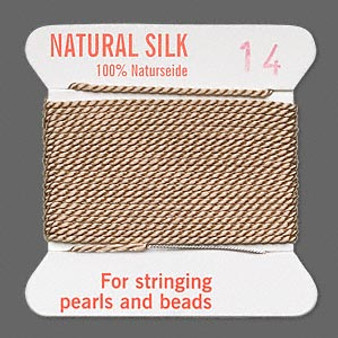 Griffin Thread, Silk 2-yard card with integrated flexible stainless steel needle Size 14 (1.02mm) Beige