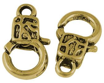 Rectangle Lobster Clasp 18mm x 10mm - 5mm thick Antique Gold - 5Pk