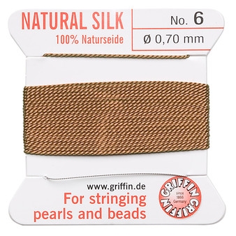 Griffin Thread, Silk 2-yard card with integrated flexible stainless steel needle Size 6 (0.7mm) Cornelian