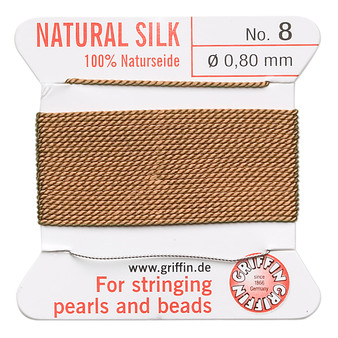 Griffin Thread, Silk 2-yard card with integrated flexible stainless steel needle Size 8 (0.8mm) Cornelian