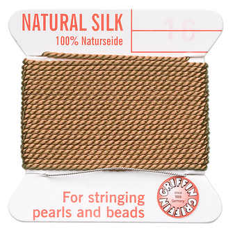 Griffin Thread, Silk 2-yard card with integrated flexible stainless steel needle Size 16 (1.05mm) Cornelian