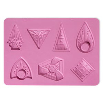 Mold, silicone, multi-shape, Shield 6-1/8x4-5/16x1/4 - use with metal/poly clay