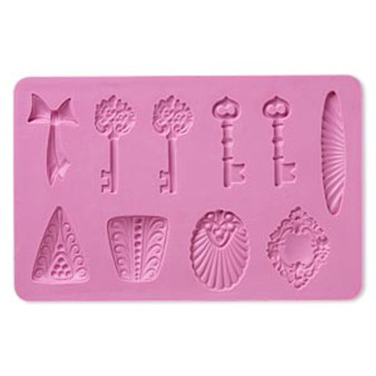 Mold, silicone,multi-shape, keys 6-1/4x4x1/4 - use with metal and polymer clay
