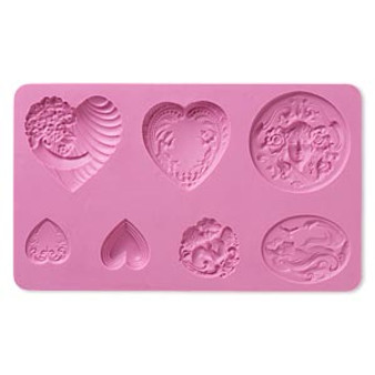 """Mold, silicone, Hearts, 6-5/8 x 4 x 3/8"""" - for use with metal and polymer clay"""
