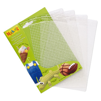 Texture plate, Makin's®, plastic, clear, 6-1/4 x 4-1/2 inch textured rectangle with screen, stripe, checks and dot.
