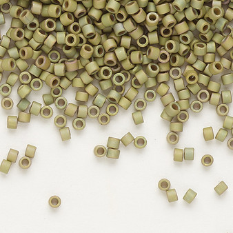 DB0372 - 11/0 - Miyuki Delica - Opaque Matte Gold Luster Rainbow Blue Green - 7.5gms - Cylinder Seed Bead