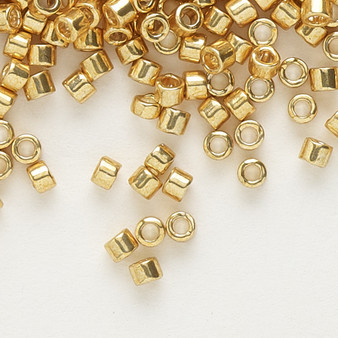 DB0410 - 11/0 - Miyuki Delica - opaque galvanized yellow gold - 7.5gms - Cylinder Seed Beads