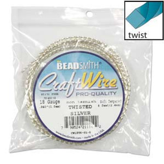 Beadsmith Craft Wire 18 guage Non Tarnish Twisted Square Wire Silver - 8ft
