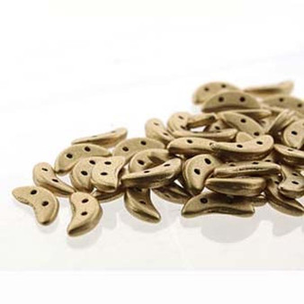 10gm bag of Czech Crescent Beads 3mm x 10mm CRS310-K0171 Matte Mtlc Flax