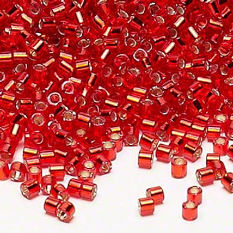 DBL-0043 - 8/0 - Miyuki - Silver Lined Red Orange - 7.5gms (approx 220 Beads) - Glass Delica Beads - Cylinder