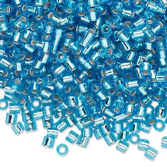 DBL-0044 - 8/0 - Miyuki - Silver Lined Aqua - 7.5gms (approx 220 Beads) - Glass Delica Beads - Cylinder