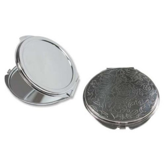 Flower Engraved Pocket Mirror Compact Silver Plated - 50mm Setting for Cameo, Cabochon, Resin, Collage or Clay