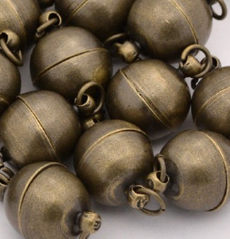 Magnetic Clasp - Small Round 11.5mm x 6mm with loops Antique Bronze - 6 pack