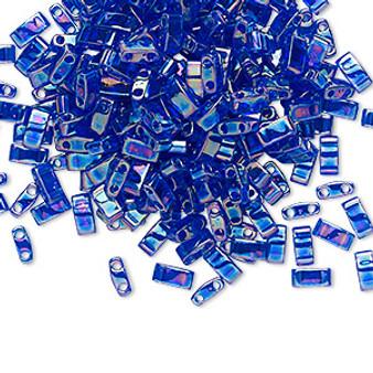 1 x 10 gram bag of Miyuki Half Tila Beads (HTL177) Transparent Rainbow Cobalt 5x2.3.mm (two-hole)