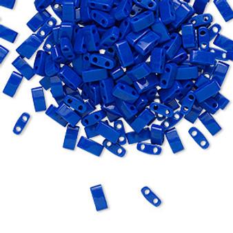 1 x 10 gram bag of Miyuki Half Tila Beads (HTL414) Opaque Cobalt 5x2.3.mm (two-hole)