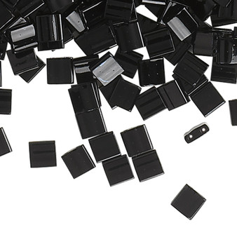 TL401 - Miyuki Tila - Opaque Black - 10gms - Two Hole Square glass beads