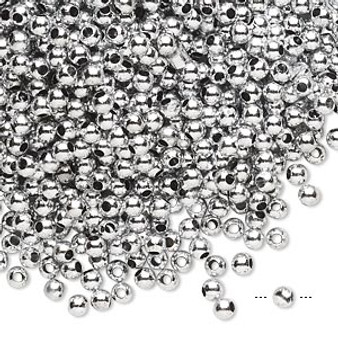 15gms Acrylic Round 3mm beads Silver Shiny (approx 1200 beads)