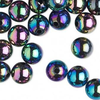 10gms Acrylic Round 6mm beads Metallic AB (approx 100 beads)