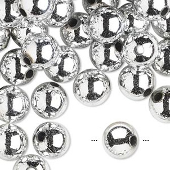 10gms Acrylic Round 10mm beads Shiny Silver (approx 20 beads)