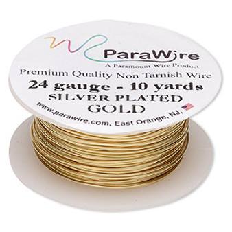Wire, ParaWire™, gold-finished and silver-plated copper, round, 24 gauge. Sold per 10-yard spool.