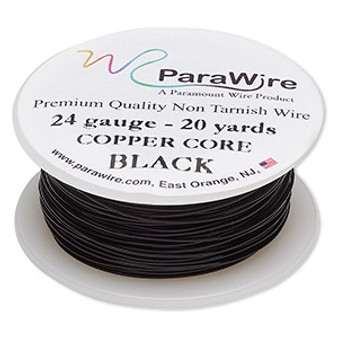 Wire, ParaWire™, black-finished and silver-plated copper, round, 24 gauge. Sold per 20-yard spool.