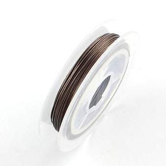 Beading Wire Steel Tiger Tail, Camel, 0.38mm; about 10m/roll