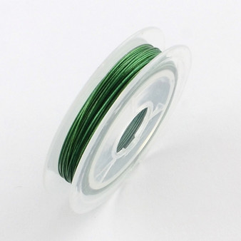 Beading Wire Steel Tiger Tail, Med Sea Green, 0.38mm; about 10m/roll