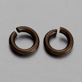 Brass Open Jump Rings, Dark Ant Bronze, 6x1mm;  4mm I.D. (10gms - approx 100)