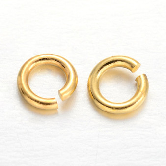 Brass Open Jump Rings, Gold, 6x1mm;  4mm I.D. (10gms - approx 100)