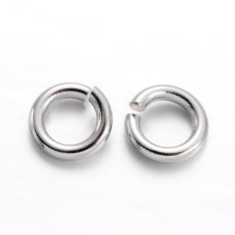 Brass Open Jump Rings, Platinum, 6x1mm;  4mm I.D. (10gms - approx 100)