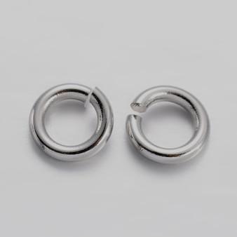 Brass Open Jump Rings, Platinum, 4x0.8mm;  2.4mm I.D. (10gms - approx 250)