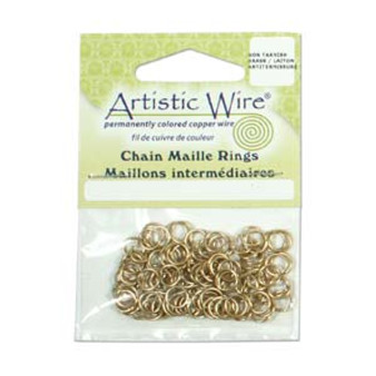 18 Gauge Artistic Wire, Chain Maille Rings, Round, Tarnish Resistant Brass, 9/64 in (3.57 mm), 110 pc
