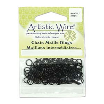20 Gauge Artistic Wire, Chain Maille Rings, Round, Black, 7/64 in (2.78 mm), 220 pc